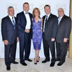 Mayor Joseph DeSalvo, Michael and Tracy Paskas, Freeholder Steve Tanelli, and Board treasurer Jim Rizzo